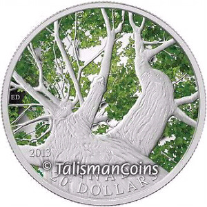 2013 MAPLE  CANOPY(SPRING) SILVER COIN - CANADA-MINT!!!