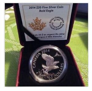 REDUCED BY $10.00 - 2014 $20 1 Oz Fine Silver Coin - Bald Eagle