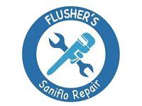 Saniflo toilet system repairs. Grundfos toilet system repair. Saniflo repair services