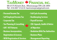 TAX PERSONAL/CORPORATE/SELF-EMPLOYED/TRUCK/TAXI/UBER/REALTOR