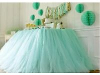 Amazing light green tablecloth for party or wedding