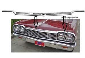 1964 Chevrolet Impala Hood Lip Molding With Emblem