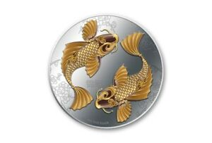 very beautiful Silver Colored Coin FENG SHUI - KOI 2012, Niue -