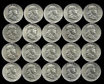 Click now to see the BUY IT NOW Price! 1 ROLL__1949-P  FRANKLIN SILVER HALF DOLLARS__BU/UNC___809LH17