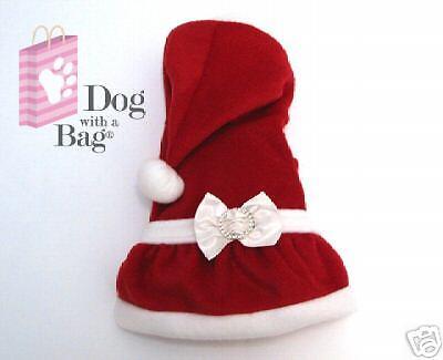 Chihuahua Santa - Mrs Santa Claus Christmas Dress Yorkie Chihuahua Dog Clothes Costumes Gift Small