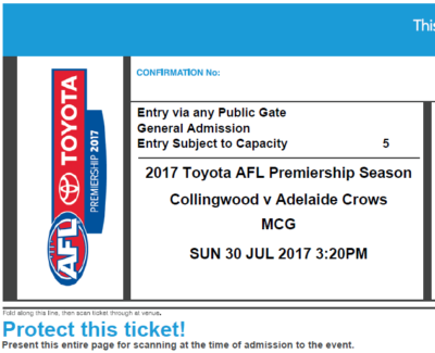 $5 Tickets 2 x Adelaide Crows v Collingwood Magpies MCG ; Rd 19