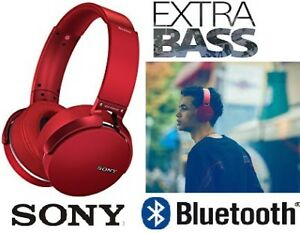 NEW SONY EXTRA BASS WIRELESS BLUETOOTH HEADPHONES WITH MIC - RED