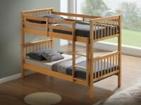 Solid, Pine, bunk bed, with, sprung, ortho, mattress, coverts to single beds.