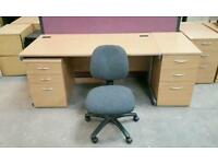 Beech Straight Desk + Desk High or Underneath Matching PED and CHAIR ! 160cm Wide