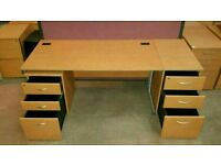 Beech Straight Desk with Desk High or Underneath Matching Pedestal ! 10 Available!