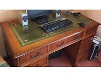 Traditional Regency Style Chesterfields Reproduction Yew Pedestal Desk 4'x2' Antique Green Leather