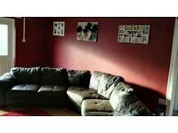 Chocolate brown italian leather 7 seater corner sofa