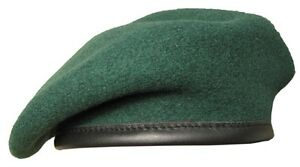 100-Wool-BRITISH-BERET-All-Sizes-DARK-GREEN-Royal-Marines-WW2-Army-Cap