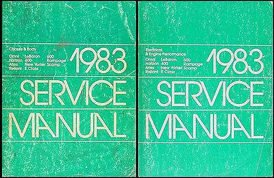 1983 Dodge 400 600 Aries Omni and Rampage Shop Manual