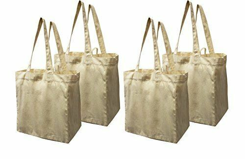 Earthwise Cotton Canvas Reusable Shopping Grocery Bag Tote (4 Pack)