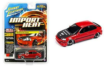Johnny Lightning 1998 Honda Civic w/ Carbon Fiber Hood Red 1/64 JLCP7173