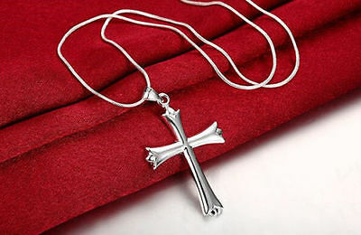 (Mens Womens 925 Sterling Silver Cross Pendant 18