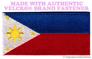 PHILIPPINES FLAG PATCH PINOY FILIPINO EMBROIDERED new w/ VELCRO® Brand Fastener