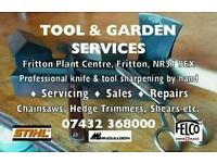 Professional tool sharpening and repairs Lawnmowers, chainsaws, hedge trimmers, petrol tools
