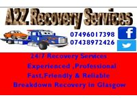 A2z Recovery serves in glasgow 24/7 Cheap van car Recovery breakdown & vehicle jump start available