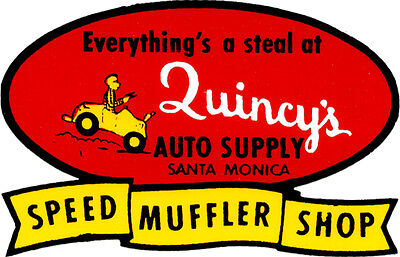 QUINCY'S AUTO SUPPLY SANTA MONICA DRAG RACE HOT ROD DECAL VINTAGE LOOK STICKER  - Auto Racing Supplies