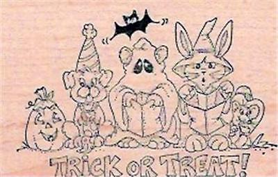 New ART IMPRESSIONS RUBBER STAMP Animals in costumes TRICK or TREAT - Animals In Costumes