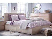 King Tempurpedic Original (Sublime) mattress with King Ikea Malm frame, headboard, and 4 drawers