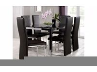Julian Bowen Black Glass Dining Table and 6 Black Faux Leather Chairs Set