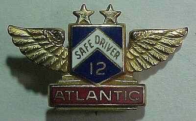 50s *Atlanic Oil* Sterling 12 year Safe Driver Enamel Pin  LGB