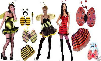Ladies Girls Lady Bird Bumble Bee Tu Tu Skirt Wings Bopper Fancy Dress Costume
