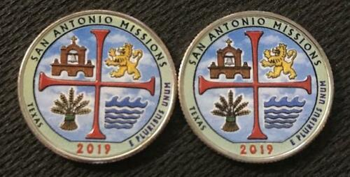 2019 P-D  COLORIZED SAN ANTONIO MISSIONS (TEXAS) ATB 2 COIN QUARTER SET