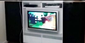 Black and white large tv entertainment centre