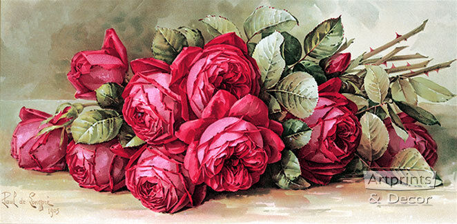 Red Roses by Paul de Longpre (Art Print of Vintage Art)