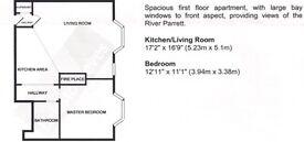 1 Bed Flat Bridgwater Town Ctr 1st Floor GSH Open Plan Kitchen/Living Area £495pcm Bills extra