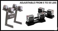 Mileage Adjustable Dumbbells 5lb to 55lbs + Dumbbell Stand