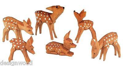 Rehe geschnitzt, geschnitzte Rehgruppe 3cm, gebeizt, Reh, Krippe, Krippenfiguren