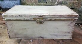 Vintage painted wooden chest trunk coffee table