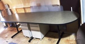 Olive green 10' (300 cm) boardroom table with black T legs
