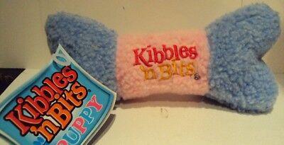 Kibbles n' Bits dog toy Blue & Pink Fleece Fetching Bone Squeakie
