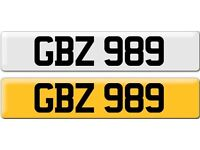 *GBZ 989* Dateless Personalised Cherished Number Plate Audi BMW M3 Ford VW Caddy Mercedes Vauxhall