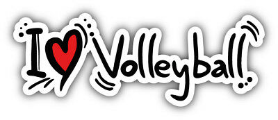 I Love Volleyball Car Bumper Sticker Decal - 3'', 5'', 6'' or 8'' - I Love Volleyball