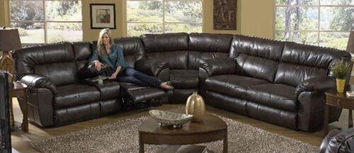 Catnapper Nolan Reclining Leather Sectional Sofa Set in Godi