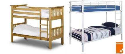 2 sets iron and wooden bunk bed with mattress