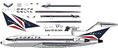 Delta Boeing 727-100 decals for Airfix 1/144 kit for sale  Oceanside