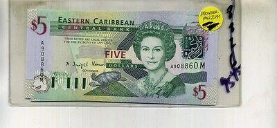 Eastern Caribbean 2003  5 Bank Note Cu 8826A