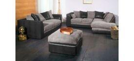 **14-DAY MONEY BACK GUARANTEE!** SAME DAY Byron Jumbo Fabric Corner Sofa or 3 and 2 Sofa Set - NEW!