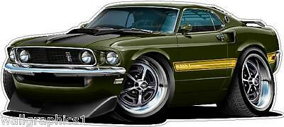 - 1969 FORD Mustang Mach1 351 Top Loader Cartoon Car Wall Stickers Graphic Poster