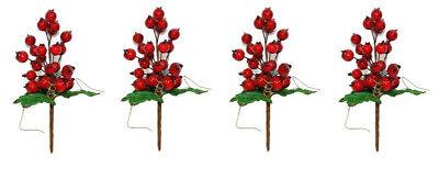 4 rami artificiali decorazioni natalizie con melograno bacche fiori natale 20cm