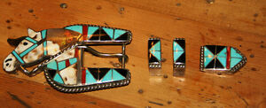 """Sterling Silver Multi Color Horse Inlay Belt Buckle by HL Zuni"""