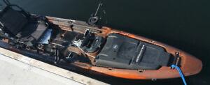 Fishing kayak with Torqeedo electric motor